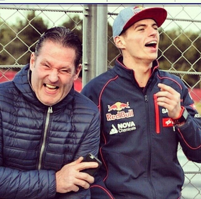 Jos (SCARY!!! ) and Max Verstappen.