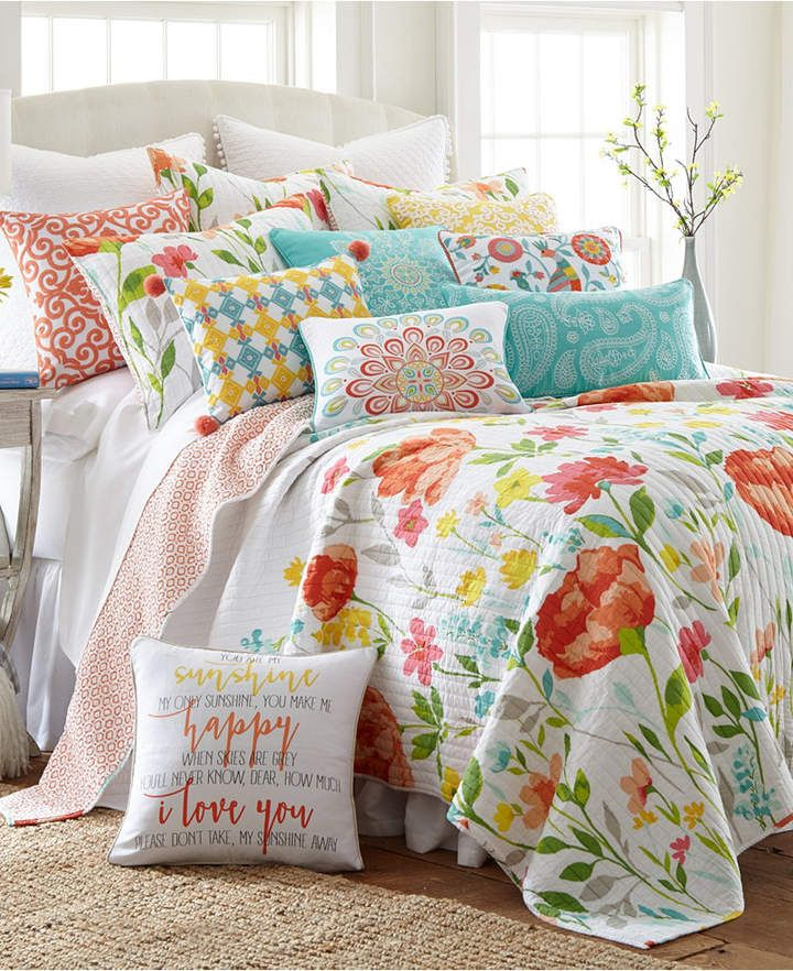 Levtex Home Laurel Coral King Quilt Set Bedding King Quilt Sets