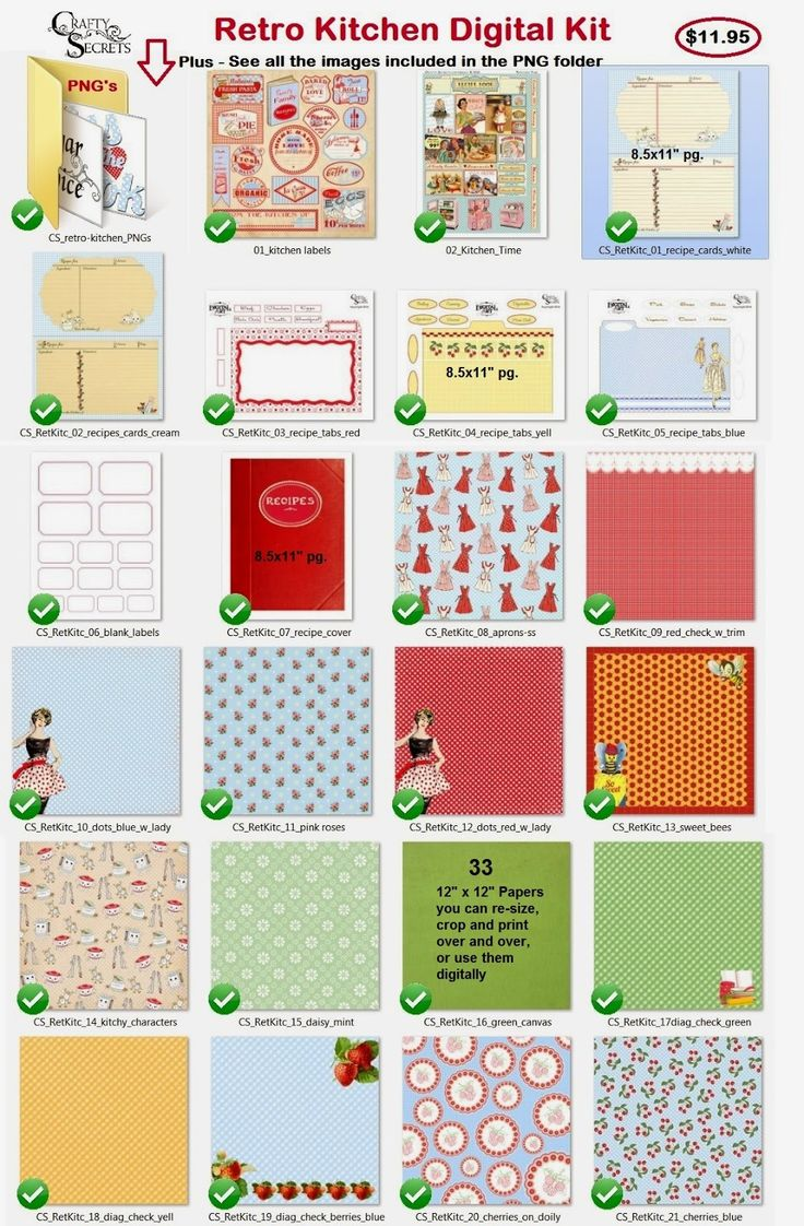 Scrapbook paper cooking - Crafty Secrets New Retro Kitchen Kit Part 1 Of The Designer Paper And Printable Sheets
