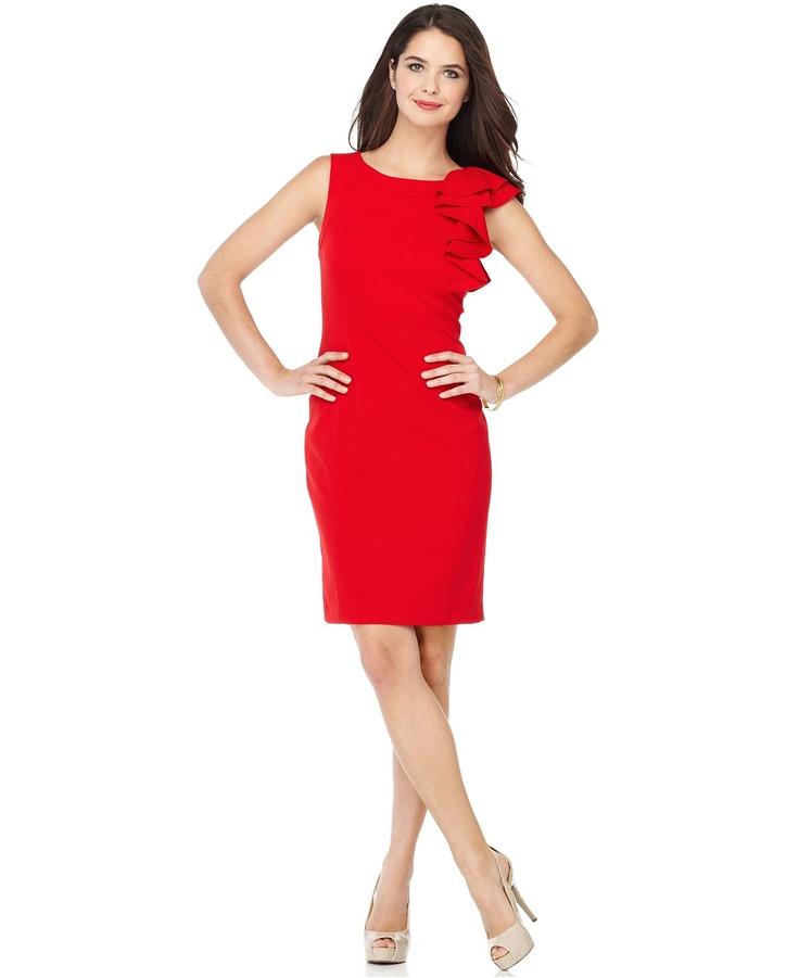 ooh, it's on sale ...: Sleeveless Ruffled, Red Sheath, Cap Sleeves, Dresses, Sheath Dress, Ruffled Cap, Sleeve Red, Calvin Klein Dress