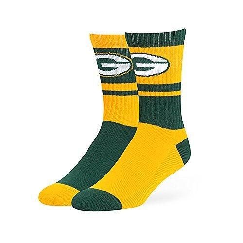 1 Pair NFL Packers Socks Football Themed Mismatched Crew Lsize Sports Patterned Team Logo Fan Merchandise Athletic Spirit Green Gold Polyester