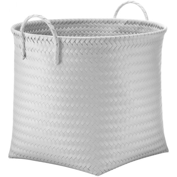 Large Round Woven Bin - White - Room Essentials™ : Target ($9.99) ❤ liked on Polyvore featuring home, home decor, small item storage, white home decor, woven bin, white bin, target home decor and target bins
