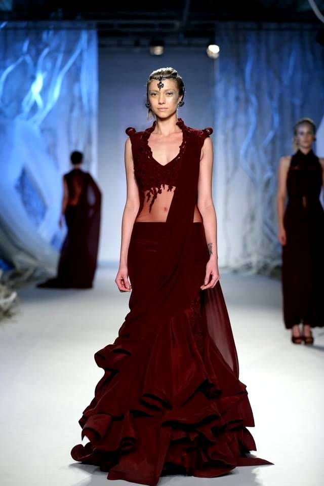 This #GauravGupta's #marsala number is perfect for an indulgent #bride