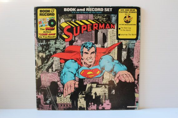 """SUPERMAN BOOK and RECORD Set, """"The Best Cop in the World"""" and """"Tomorrow The World"""", story and lp record, collectible Superman, 1970s vinyl"""