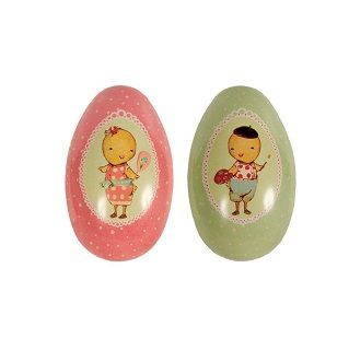 Maileg Metal Easter Eggs Large (Set Of 2) These 2 large metal Easter eggs, beautifully printed with chicks and flowers inside, will make any Easter basket stand out. Fill them with a Maileg toy or the best chocolate you can find and save them for years to come $28.00 #easter #gift #bunny