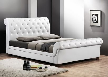 Baxton Studio Leighlin White Modern Sleigh Bed with Upholstered Headboard - Full Size