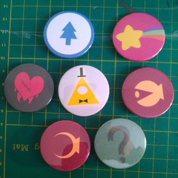 insignes de pin à la main de 38mm inspirés par Gravity Falls : Mabel pins Dipper pins Stan pins x 2 Soos Robbie Bill Cypher Listing est pour sept