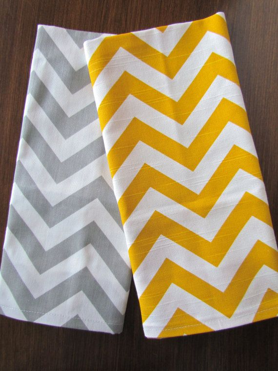 GRAY YELLOW TEA Towels Set of 2 Chevron Tea by SimplyTableRunners, $23.95
