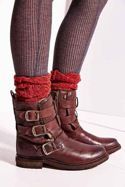 """Frye Valerie: Strappy Shearling Boot in """"Chocolate"""" / """"Strappy engineer boot lined with cozy shearling, from the pros that know at Frye. Premium leather uppers, fitted with a side zip closure and lugged rubber heel. Finished with buckled accents in antiqued metal and embossed logo stamp."""" / $478.00"""
