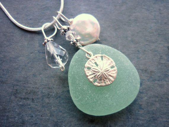 Sea Glass Necklace  Sea Foam Beach Seaglass by TheMysticMermaid