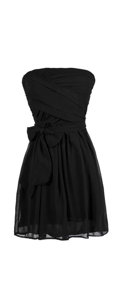 Kylie Crossover Chiffon Strapless Dress in Black  www.lilyboutique.com