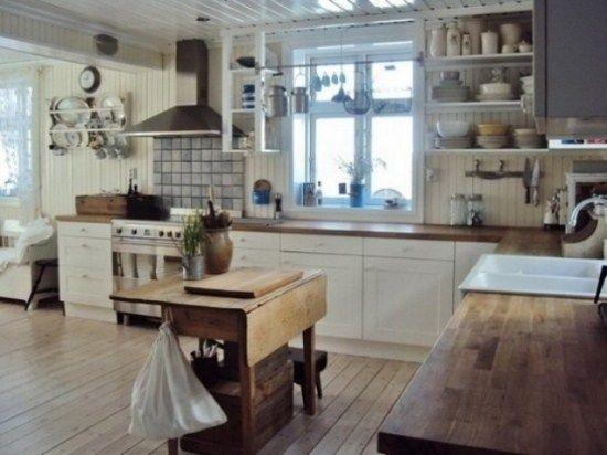Desain Dapur Gaya Retro Berbahan Kayu