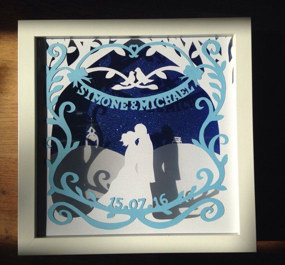 Personalised Framed Wedding Gift Paper Cut