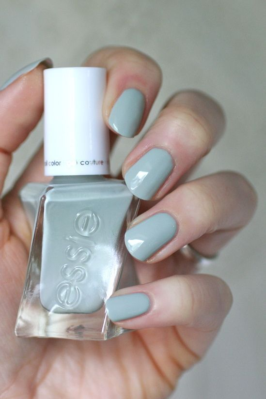 Essie Sage You Love Me - soft light grey green #nail polish / lacquer / vernis, swatch / manicure @essieenvy, bridal 2017 collection / gel couture