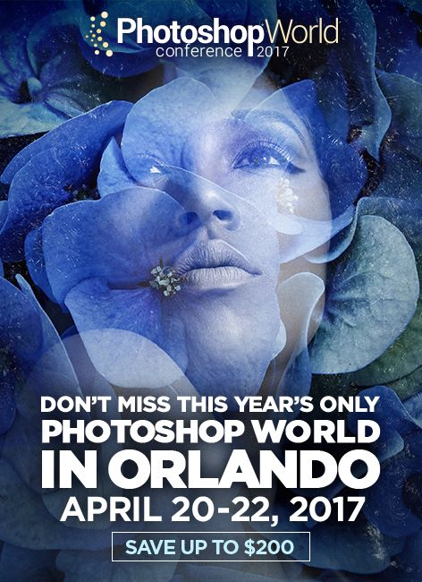 Photoshop World is making its grand appearance in Orlando, Florida where the sun shines and the palm trees sway! You'll have a blast as you learn all about photography and photo editing from the world's best instructors. Plus it's an event full of other fun creatives just like yourself—you won't want to miss this opportunity!