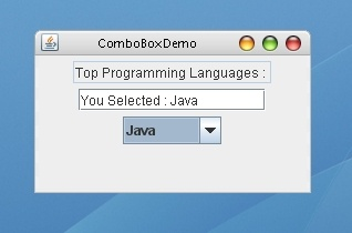 A Simple program demonstrating the use of Combo Box (Drop-Down list) in Java using Swing.