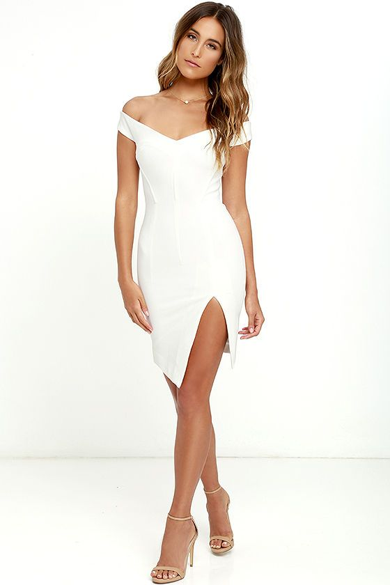 """We'd would say """"take a picture, it lasts longer,"""" but we don't blame you for staring! The Bless'ed Are the Meek Mohawk White Bodycon Dress boasts an off-the-shoulder neckline (with no slip strips) and a seamed bodice (with hidden boning) that flatters and flaunts your figure. Thick, stretch knit bodycon skirt has an angular hem and side slit. Exposed gold back zipper."""