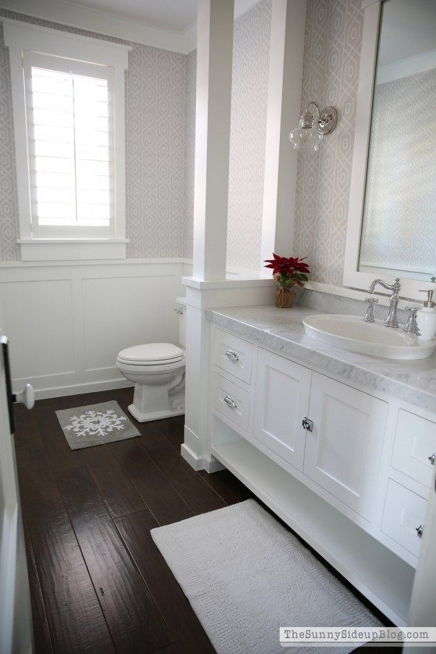 The 13 Different Types Of Bathroom Floor Tiles Pros And Cons White Bathroom Cabinets Wood Floor Bathroom Dark Floor Bathroom
