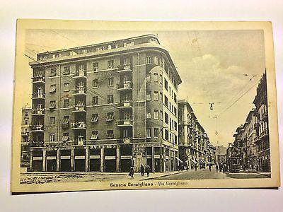 Genova Cornigliano - Via Cornigliano con Tram - animata - viaggiata - anni '40