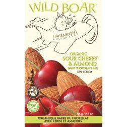 Wild Boar bar Sour Cherry and Almond. Organic. Sustainable. Hagensborg chocolates. dark chocolate lovers!