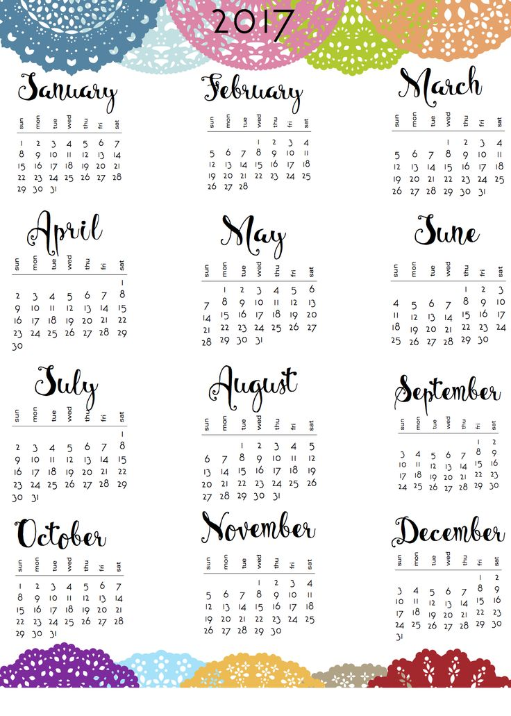 17 Best ideas about 2017 Yearly Calendar on Pinterest | Calendar ...
