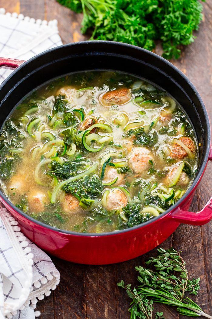 Turkey Meatball Zoodle Soup (Paleo, Whole30, Keto)