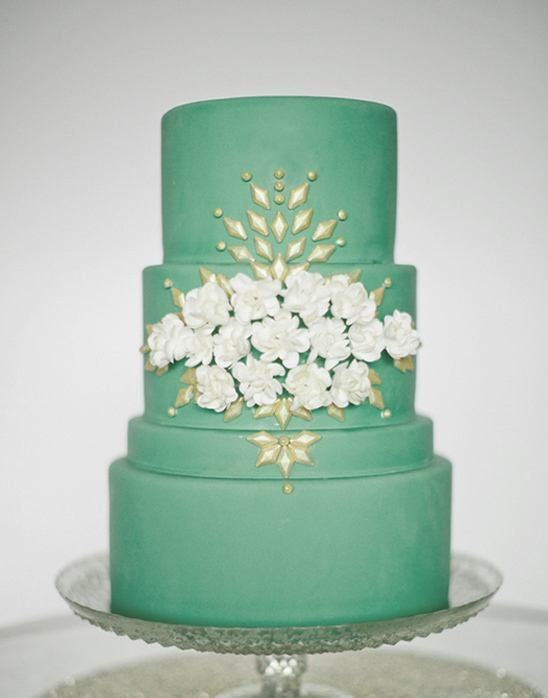 100 Wedding Cakes that WOW |  When you think wedding cake you usually don't think of shades of green but this pretty one from this Pink and Green