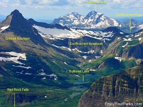A view from the summit of Mount Henkel, which is above the Swiftcurrent Motor Inn. This is a great view of the Swiftcurrent Valley and the many things to do there!