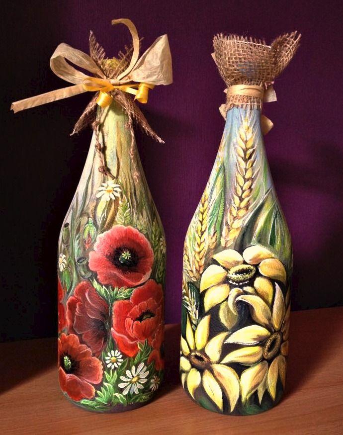 Mohnblumen/Sonnenblumen Deko-Flaschen Bild auf Glas/Akrylfarbe/Handarbeit