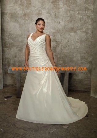 Robe de mariée grande taille simple en satin à drapé
