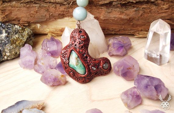 Native Clay Pendant Chrysoprase Pendant Amazonite by Claneral