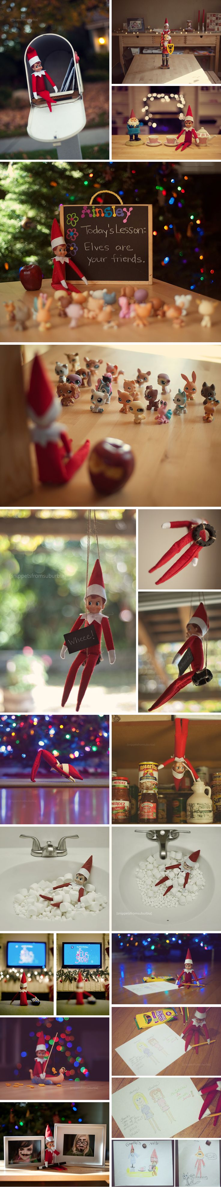 Lots of adorable Elf on a Shelf Ideas!