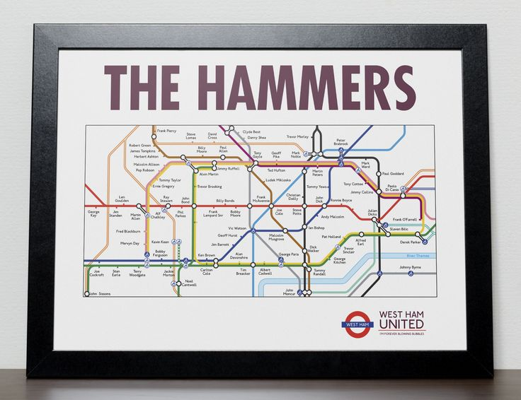 West Ham United FC Greatest players in the style of London Tube/Subway