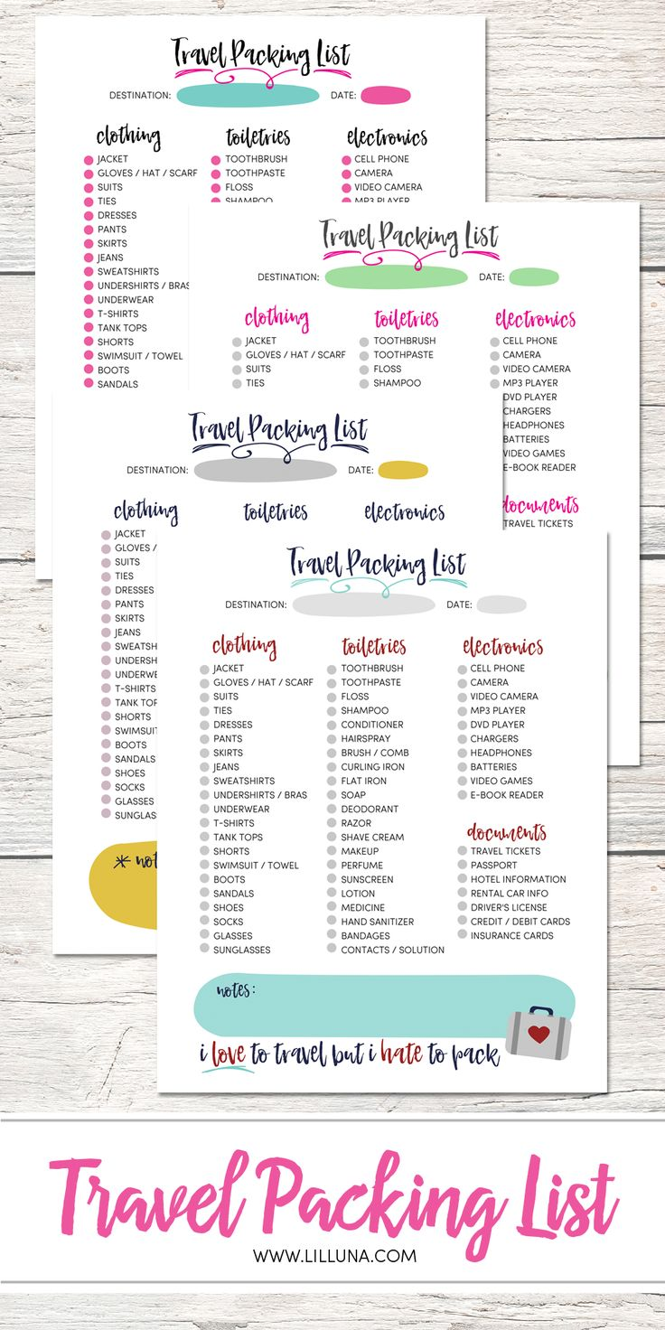 FREE Printable Travel Packing list - available to download in several colors.