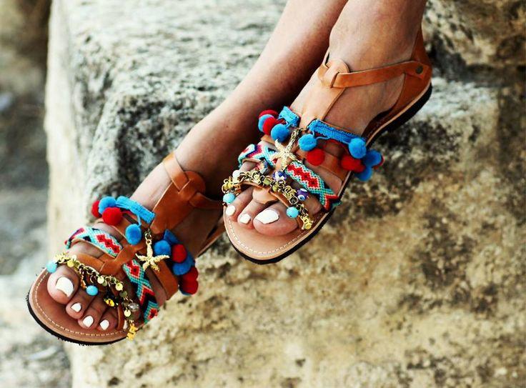 "Spartan Greek Leather sandals with pom pom, semi-precious stones and Swarovski crystals ""Maude"" (handmade to order) by ElinaLinardaki on Etsy https://www.etsy.com/listing/207630806/spartan-greek-leather-sandals-with-pom"