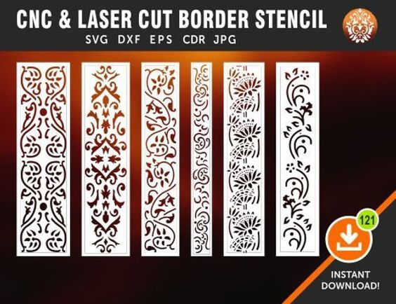 6 Border Cutting File For Laser Cnc Amp Plasma Floral Wall