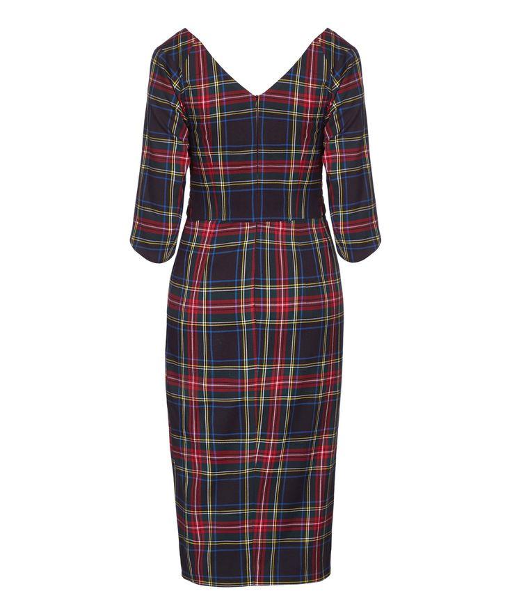 NEW 'Confident' Bombshell 3/4 Sleeve Dress Black Tartan