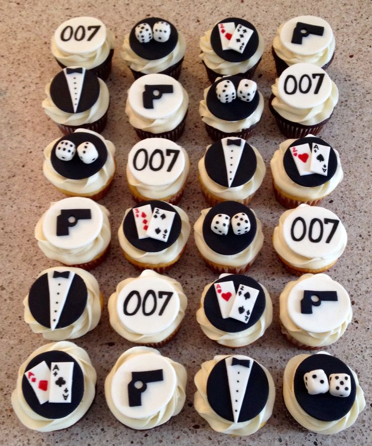 James Bond cupcakes                                                       …                                                                                                                                                                                 More