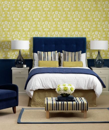 Preppy Palette  If you need to compromise on a decorating style for the master bedroom, consider colors that are neither too masculine nor too feminine. Play with patterns and textures: florals on the walls, velvet on the headboard, and striped accents.