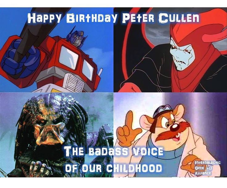 #HappyBirthday to #PeterCullen!  This man has lent his voice to over 150 cartoons in his storied career! (Seriously go look at his filmography on IMDB!) #OptimusPrime is of course his most well-known role. And as the narrator on #Voltron. He also voiced #Venger on #DungeonsandDragons #MontereyJack on #RescueRangers and #ThePredator!  And that's just scratching the surface. What was your favorite Peter Cullen performance?  #Predator #ChipnDale #Transformers #KnightRider #KARR #Eeyore…
