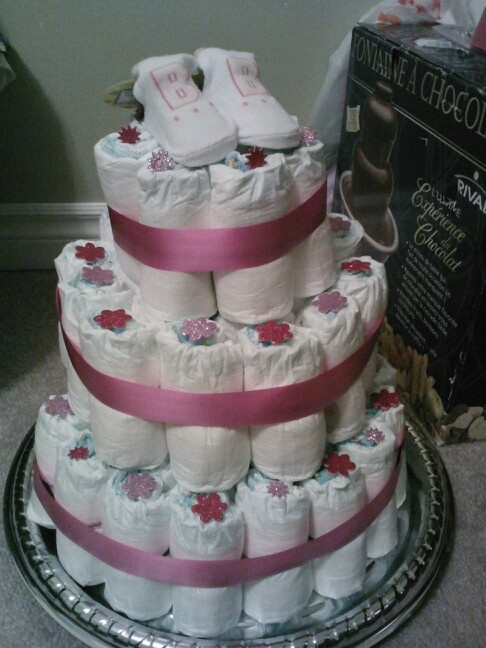 Pretty in Pink 3 tiered diaper cake