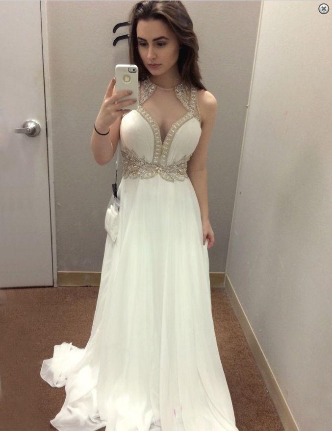 white prom dress,chiffon Prom Dress,long prom dress,beaded prom dress,charming evening dress,BD3693