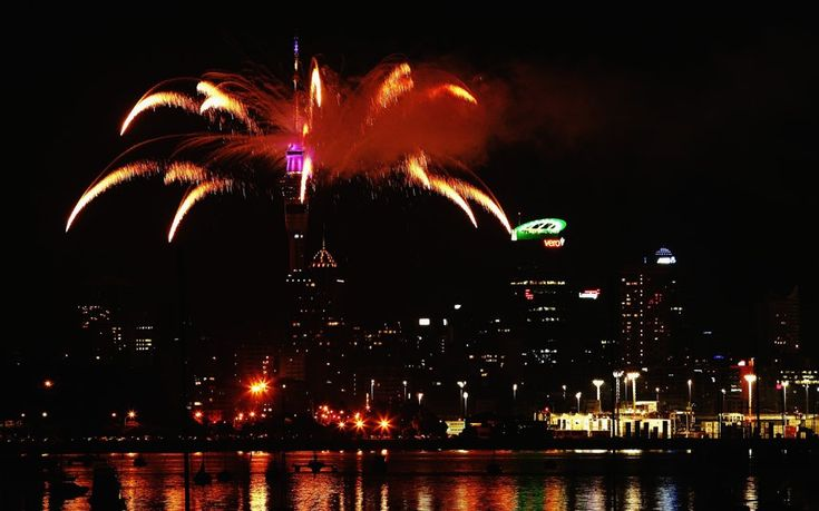 2014 New Year's Eve celebrations around the world: Fireworks are let off from the Auckland Sky Tower to celebrate the new year in Auckland, New Zealand.