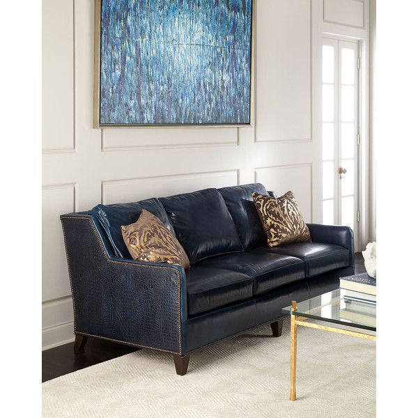 Massoud Manning Leather Sofa ($6,299) ❤ Liked On Polyvore Featuring Home,  Furniture, Part 84