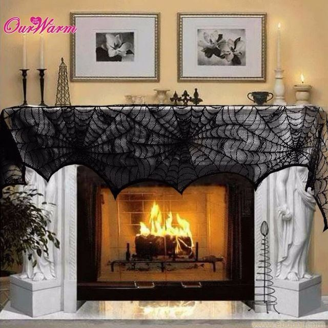 Halloween Decoration Cobweb Fireplace Scarf Black Lace Spider Web Mantle for Home Halloween Supply