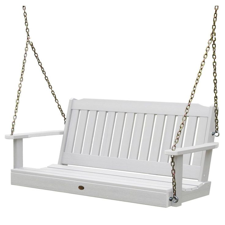 Highwood Eco-friendly Marine-grade Synthetic Wood 5 ft. Porch Swing (white) (Plastic) , Patio Furniture