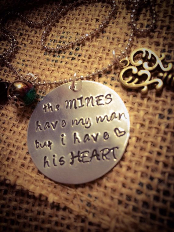 FAST FREE SHIPPING coal miner hand stamped necklace coalminer on Etsy, $25.87