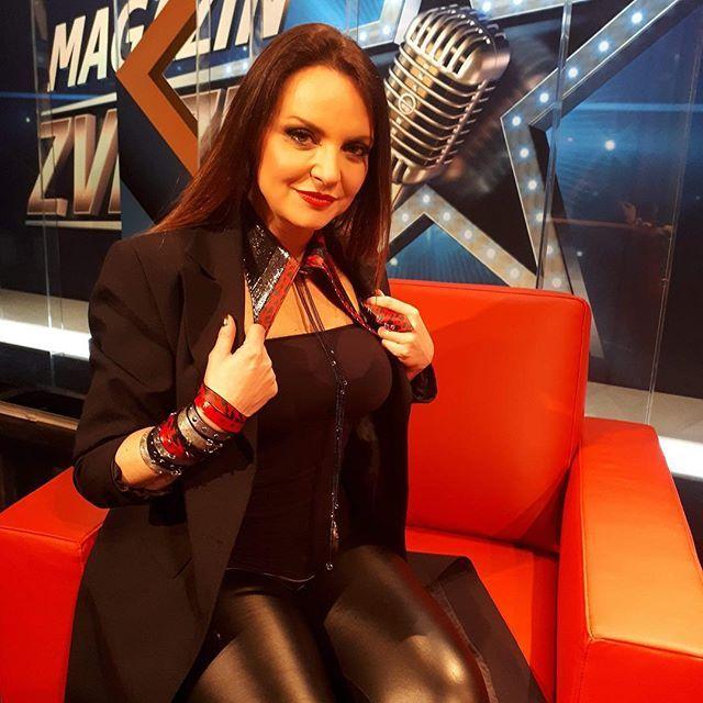 Beautiful TV host Oriana Girotto wearing nothing but the best: #evileve #evilevedesign #orianagirotto #leather #fashion #picoftheday #igslovenia #instalike #rocker #rockchick