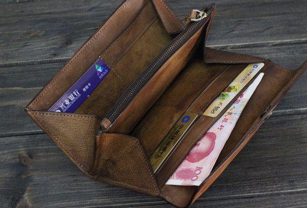 Handmade Men long leather wallet men multi cards vintage gray brown wa | EverHandmade