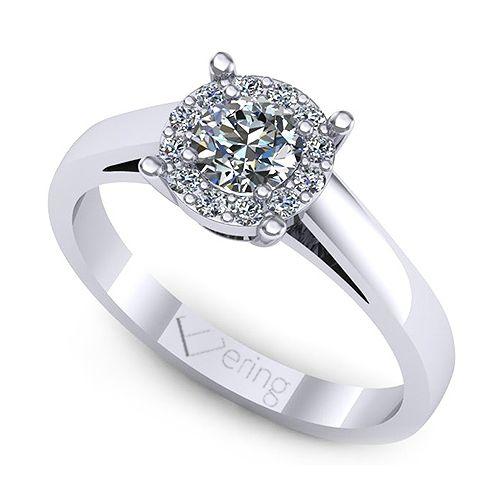 Inelul este format din: 1 x diamant, dimensiune: ~4.00mm, greutate: 0.25ct , culoare: G, claritate: VS2, forma: round; 12 x diamant, dimensiune: ~1.30mm, greutate totala: ~0.12ct, forma: round
